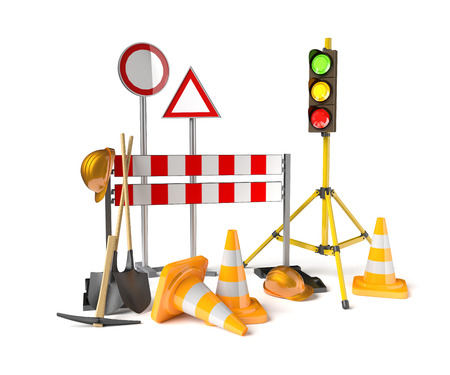 Traffic constructions symbols on the white background. 3D rendered stoplight, traffic cones, staffs, signs and tools.