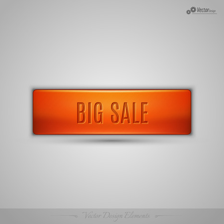 web design background: Simple vector web button with shadow on the gay background. Orange design element.