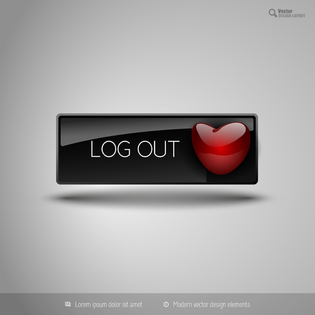 log off: Black glossy button with red heart. Vector business design elements.