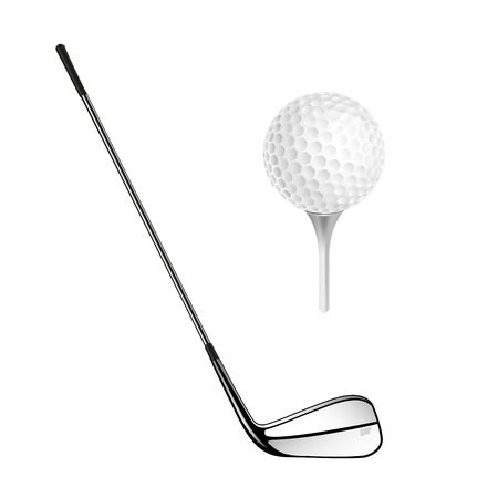 golf stick: Golf ball and golf stick isolated on the white. Vector sport items as design elements.