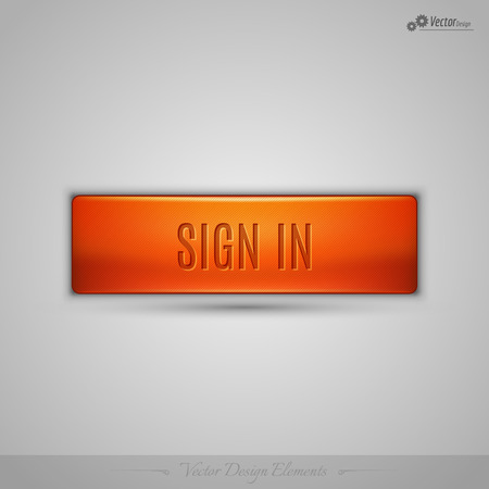 signup: Simple vector web button with shadow on the gay background. Orange design element.