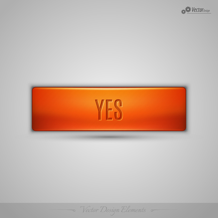 assent: Simple vector web button with shadow on the gay background. Orange design element.