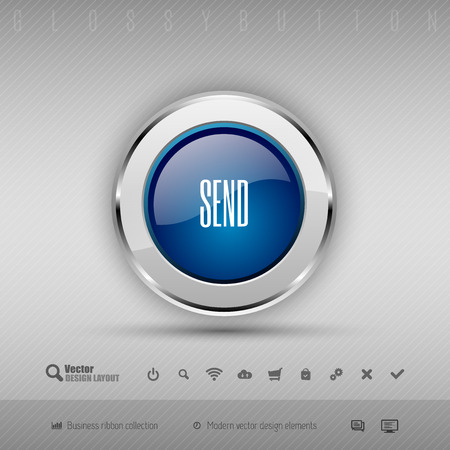 detach: Blue and gray glossy button with set of icons. Vector business design elements.
