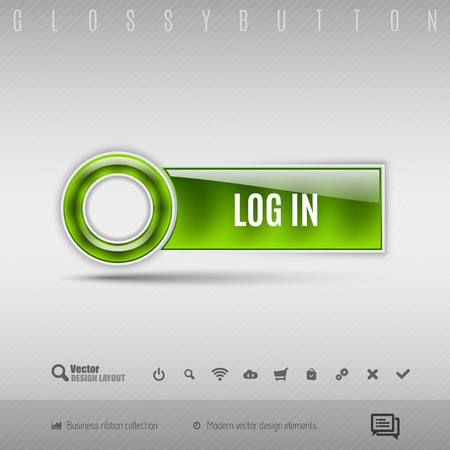 username: Green modern plastic button with circle on the gray background. Vector design element.