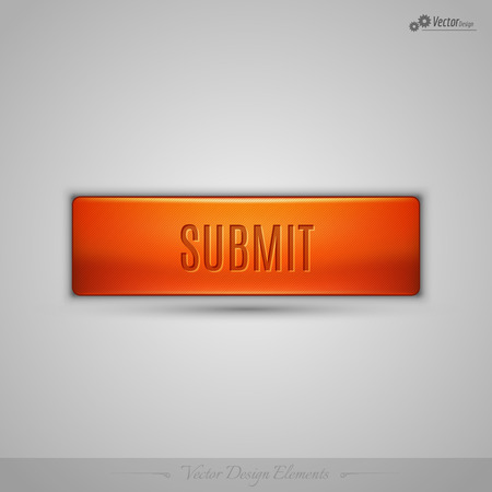 submit: Simple vector web button with shadow on the gay background. Orange design element.