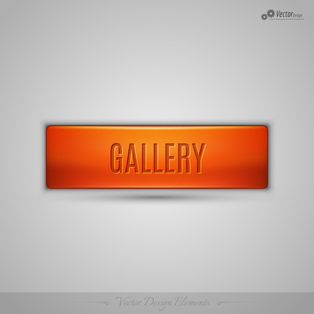 silver picture frame: Simple vector web button with shadow on the gay background. Orange design element.