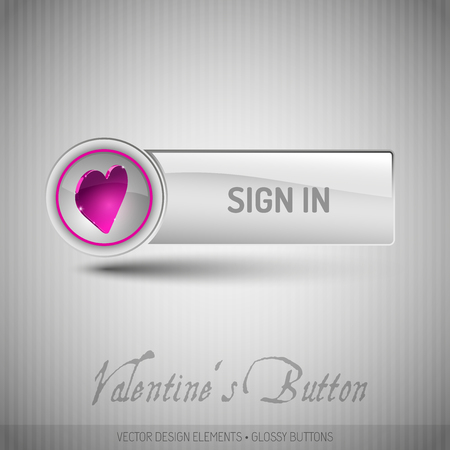 signup: Vector button with valentines symbols. Modern design elements with pink heart.