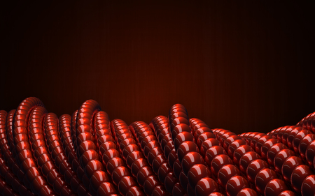 abstact: Red glossy balls as 3D abstact geometry. Twisted circular shapes.