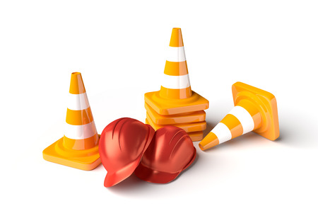 road construction: Traffic cones with work helmet isolated on the white. 3D render image. Stock Photo