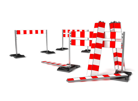 barricade: Traffic construction symbol, mobile barricade. Objects isolated on white background.