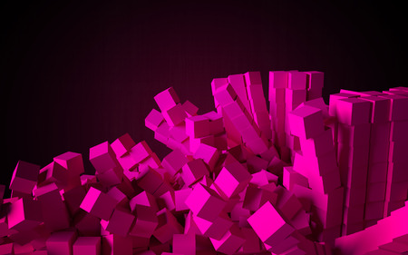 purple wallpaper: Falling cubes as purple abstract objects. 3D rendered image for background, wallpaper or design element.