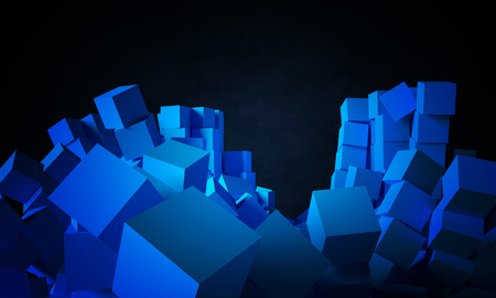 falling cubes: Falling cubes as blue abstract objects. 3D rendered image for background, wallpaper or design element.
