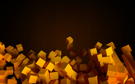 falling cubes: Falling cubes as orange abstract objects. 3D rendered image for background, wallpaper or design element. Stock Photo