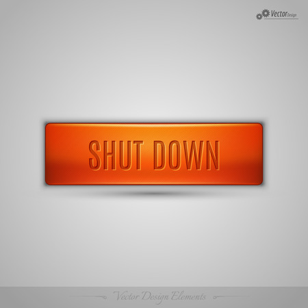 shutdown: Simple vector web button with shadow on the gay background. Orange design element.