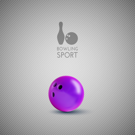 indoor sport: Bowling bowl on the gray background. Vector design elements.
