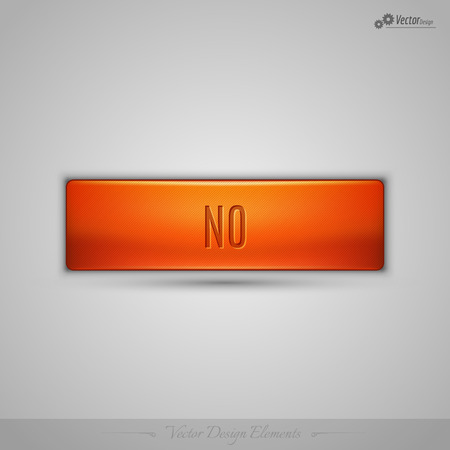 disapproval: Simple vector web button with shadow on the gay background. Orange design element.