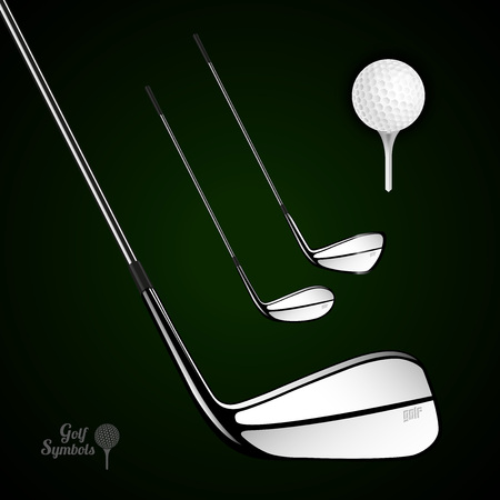golf stick: Golf ball and golf stick on the dark background. Vector sport items as design elements.