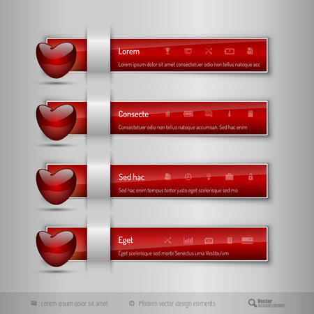 Red business tabs, ribbons, with red glossy heart. Modern vector design elements.