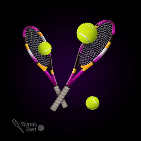 sports activity: Tannis ball and racket on the dark background. Vector tennis items as design elements.