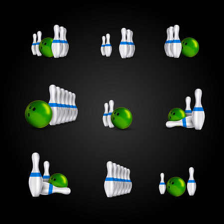 indoor sport: Bowling items on the dark background. Bowling skittles and bowls as vector design elements. Illustration