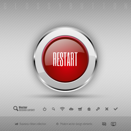 restart: Red and gray glossy button with set of icons. Vector business design elements.