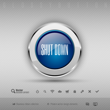 shutdown: Blue and gray glossy button with set of icons. Vector business design elements.