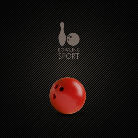sphere standing: Red bowling bowl on the dark background. Illustration