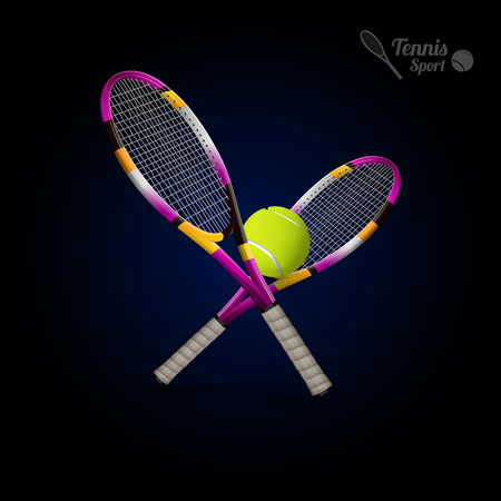 sports winner: Tannis ball and racket on the dark background. Vector tennis items as design elements.