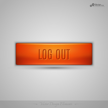 log off: Simple vector web button with shadow on the gay background. Orange design element.