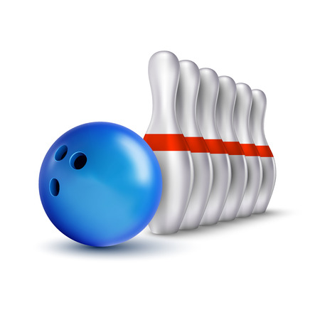 indoor sport: Vector ball and pins of bowling. Realistic isolated objects on the white as design elements.