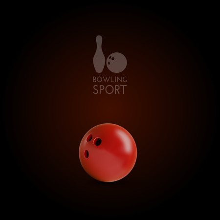 sports activity: Red bowling bowl on the dark background. Vector design elements.