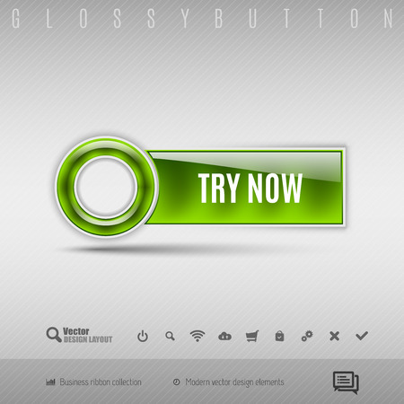 try: Green modern plastic button with circle on the gray background. Vector design element.