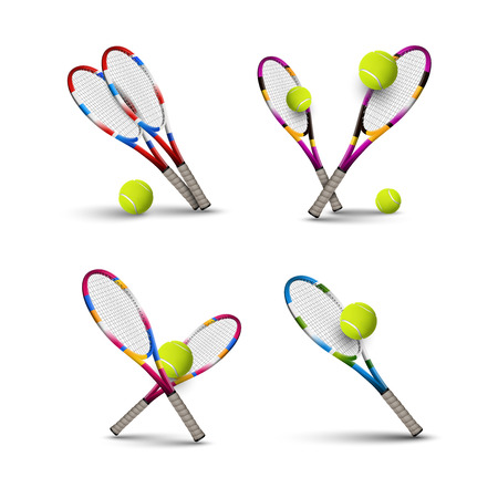 rackets: Tannis ball and racket isolated on the white background. Vector tennis items as design elements.