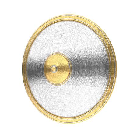 cromo: El oro y la plata escudo aislado en el fondo blanco. Foto de archivo