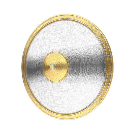 chrome: Gold and silver shield isolated on the white background.