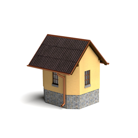 small house: Small house isolated on the white. Rendered image