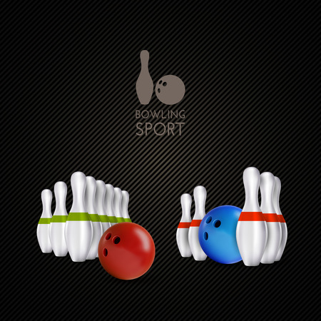 sphere standing: Bowling items on the dark background. Bowling skittles and bowls as vector design elements. Illustration