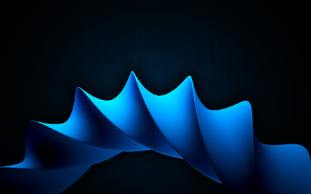 blue spiral: Blue spiral as abstract object on the dark background. 3D rendered image. Stock Photo