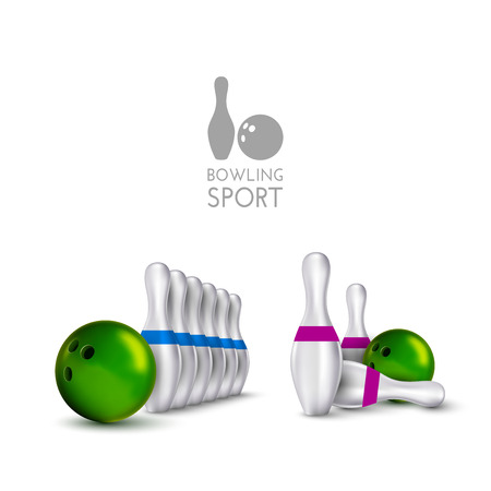 indoor sport: Bowling items isolated on the white background. Bowling skittles and bowls as vector design elements.