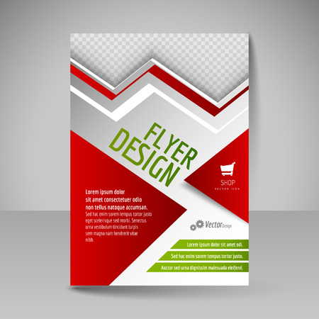 magazine cover: Editable vector template of flyer for business brochure, presentation, website, magazine cover. Red and green colors.
