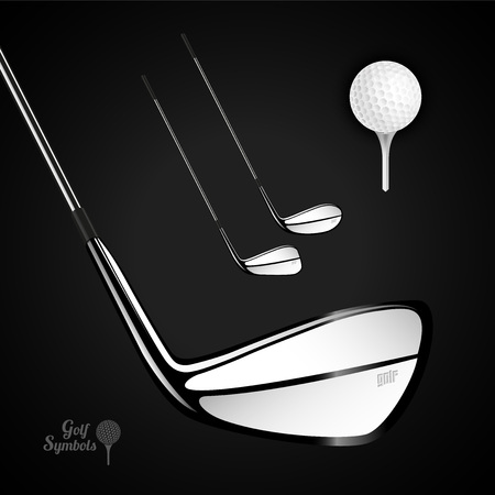 sports activity: Golf ball and golf stick on the dark background. Vector sport items as design elements.