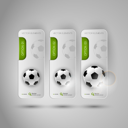 glossy: Vector ball of soccer. Realistic football on the gray banners as design elements. Fottballs theme.