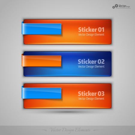 web template: Business stickers on gray background for infographics, webdesigns, apps. Vector editable design elements.