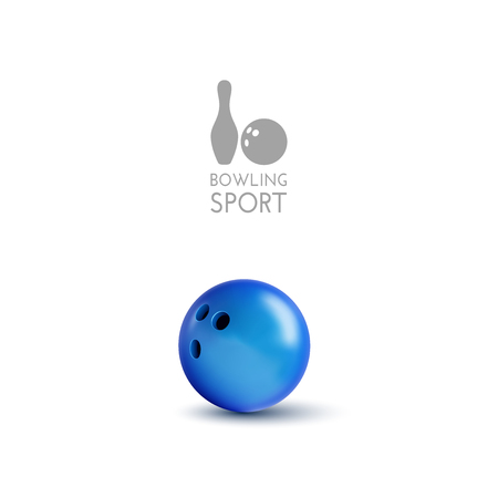 indoor sport: Blue bowling bowl isolated on the white background. Vector design elements.