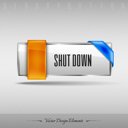 shut down: Business web button for website or app. Vector design element.