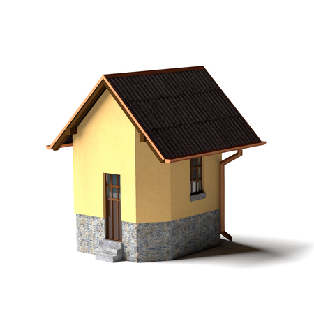 Petite maison isolée sur le blanc. image rendue