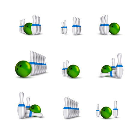sphere standing: Bowling items isolated on the white background. Bowling skittles and bowls as vector design elements.