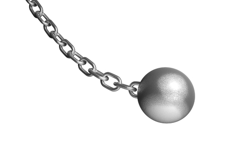 raze: Demolish ball hanging on the iron chain. Isolated on the white background without shadow.