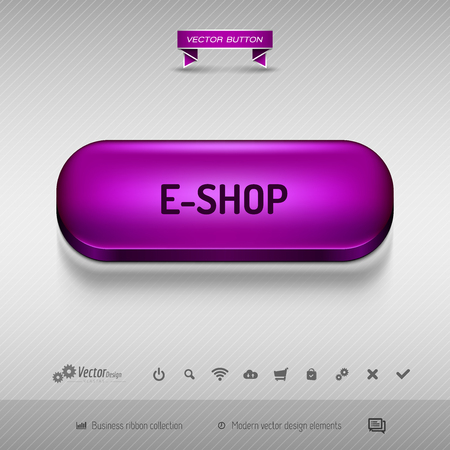 purple background: Purple button for webdesign or app on the gray background with shadow. Vector design elements.
