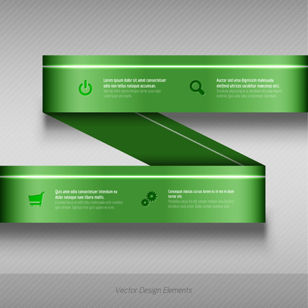 green banner: Vector background options banner. Green vector design elements. The same illustration without sample texts in my portfolio. Illustration
